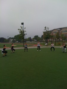 The Girls lined up for Squat/Lunge Quick-Pace Circuit